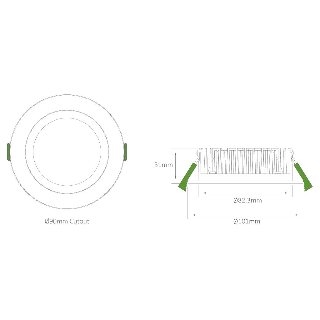 Tek 10 Round 10w Dimmable Led Downlight