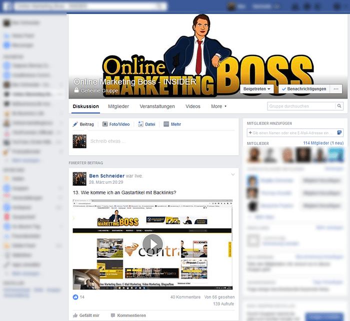 Online Marketing Boss Facebook Insidergruppe