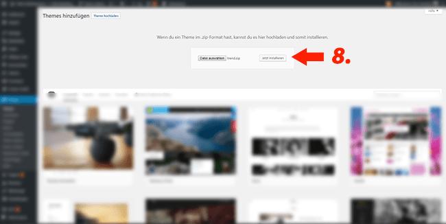 Wordpress Theme installieren fertig