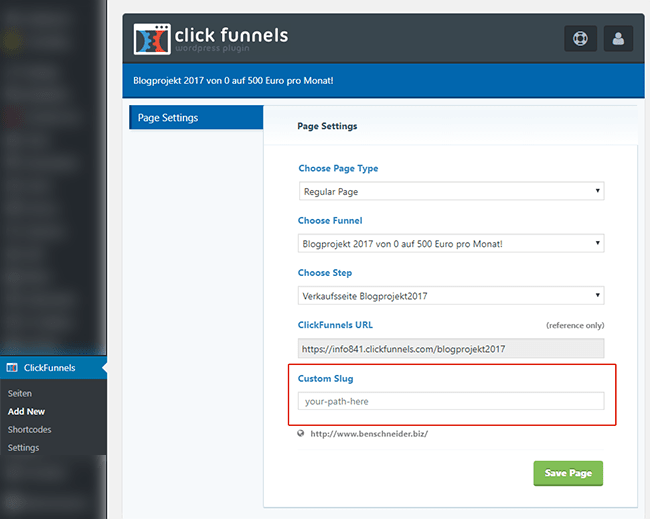 clickfunnels add new for wordpress page