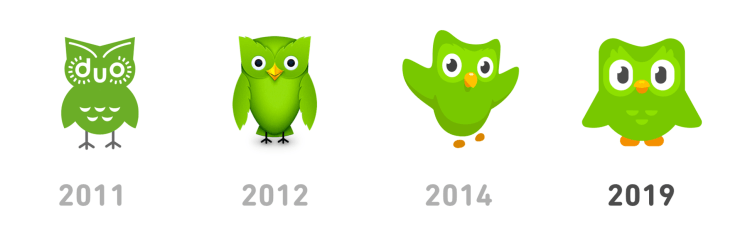 The evolution of Duolingo's mascot, Duo the owl.