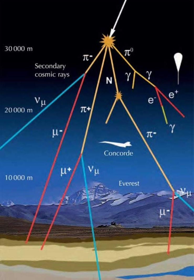 While cosmic ray showers are common from high-energy particles, it's mostly the muons which make it down to Earth's surface, where they are detectable with the right setup.