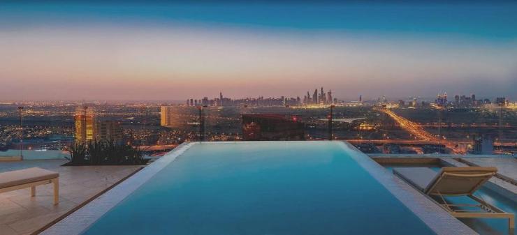 Swimming pool views from FIVE Jumeirah Village Dubai