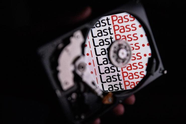 Hard drive showing the LastPass logo