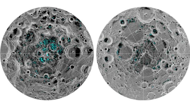 The image shows the distribution of surface ice at the Moon's south pole (left) and north pole (right), detected by NASA's Moon Mineralogy Mapper instrument. Blue represents the ice locations, plotted over an image of the lunar surface, where the gray scale corresponds to surface temperature (darker representing colder areas and lighter shades indicating warmer zones). The ice is concentrated at the darkest and coldest locations, in the shadows of craters. This is the first time scientists have directly observed definitive evidence of water ice on the Moon's surface.