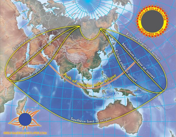 The ″ring of fire″ will be visible from a narrow path through Saudi Arabia, Qatar, the UAE, Oman, southern India, Sri Lanka, Indonesia, Singapore and Malaysia, and Guam in the Pacific Ocean.