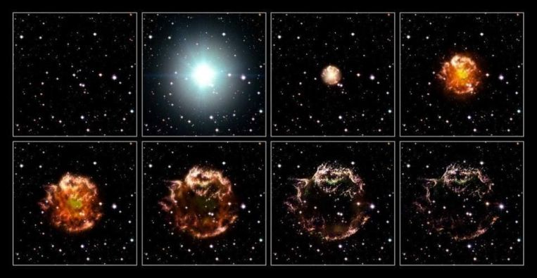 An animation sequence of the 17th century supernova in the constellation of Cassiopeia. This... [+] explosion, despite occurring in the Milky Way and about 60-70 years after 1604, could not be seen with the naked eye due to the intervening dust. Surrounding material plus continued emission of EM radiation both play a role in the remnant's continued illumination. A supernova is the typical fate for a star greater than about 10 solar masses, although there are some exceptions.