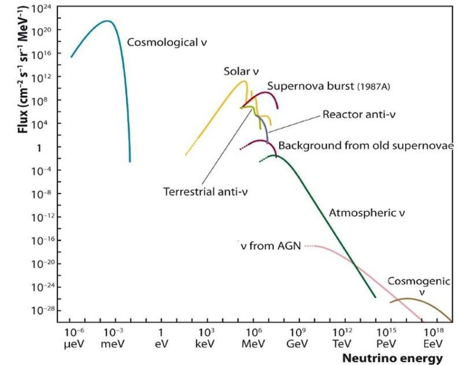 There are many natural neutrino signatures produced by stars and other processes in the Universe.... [+] Every set of neutrinos produced by a different fusion process inside a star will have a different spectral energy signature, enabling astronomers to determine whether their parent star is fusing carbon, oxygen, neon, and silicon in its interior, or not.