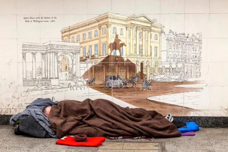 England, London, Piccadilly, Rough Sleeper