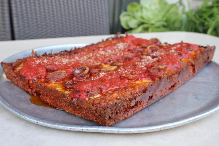 The Detroit Rosa pizza at Tony's Pizza Napoletana.