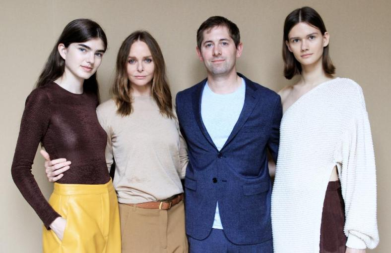Stella McCartney and Dan Widmaier with models wearing Microsilk Bodysuit and Trousers