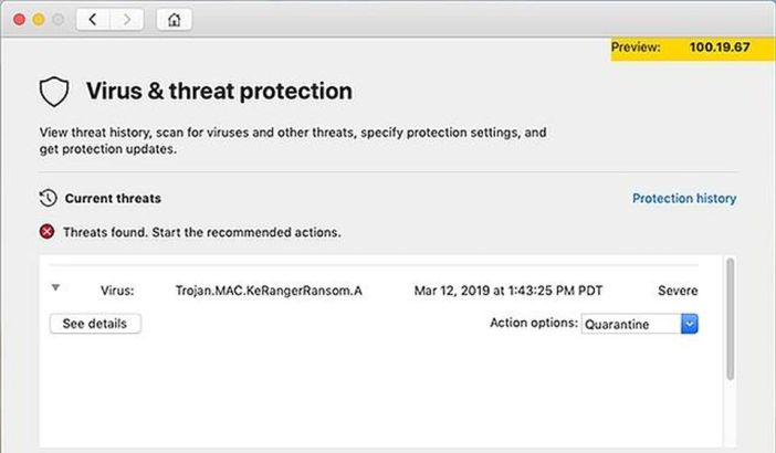 Microsoft Defender for Mac finds a malicious file during a scan (Microsoft)