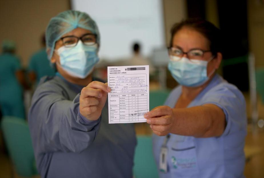 Health Workers At Ricardo Palma Clinic Vaccinated Against COVID-19