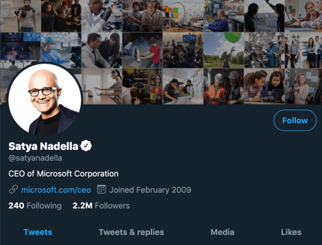 Satya nadella twitter with email