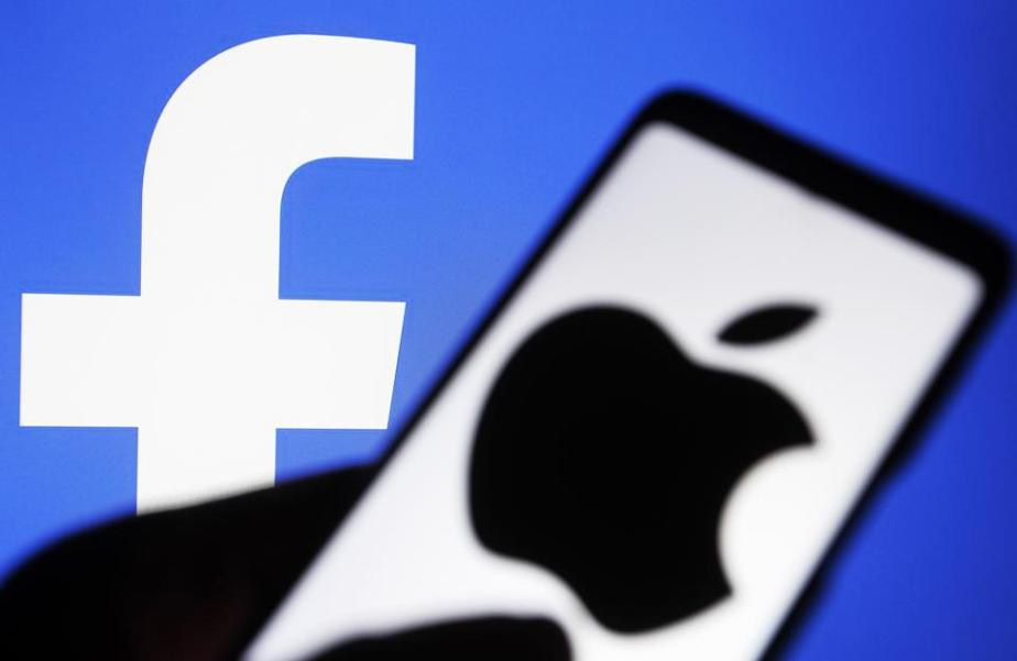 In this photo illustration the Apple and Facebook logos are...