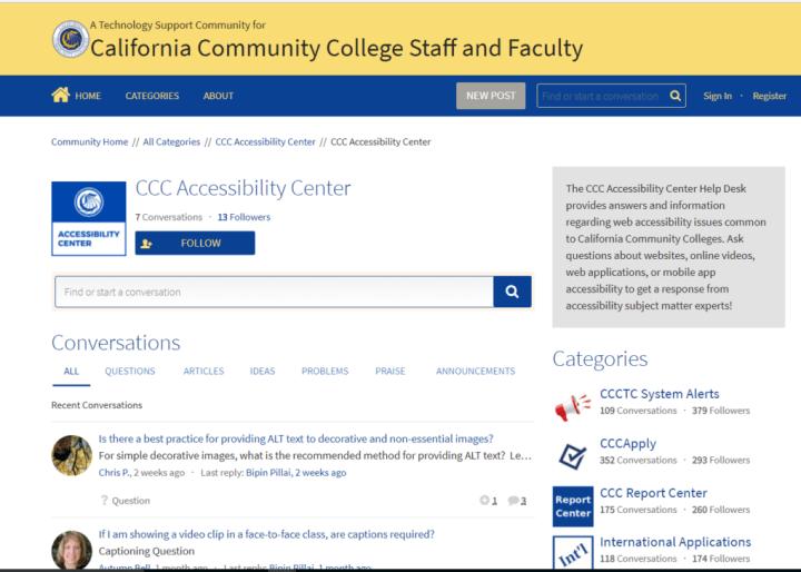 Accessibility Help Desk website screenshot