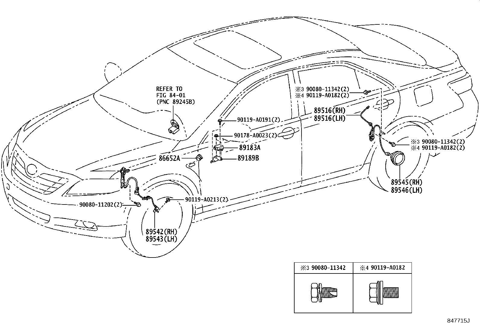 Toyota Camry Abs Wheel Speed Sensor Wiring Harness