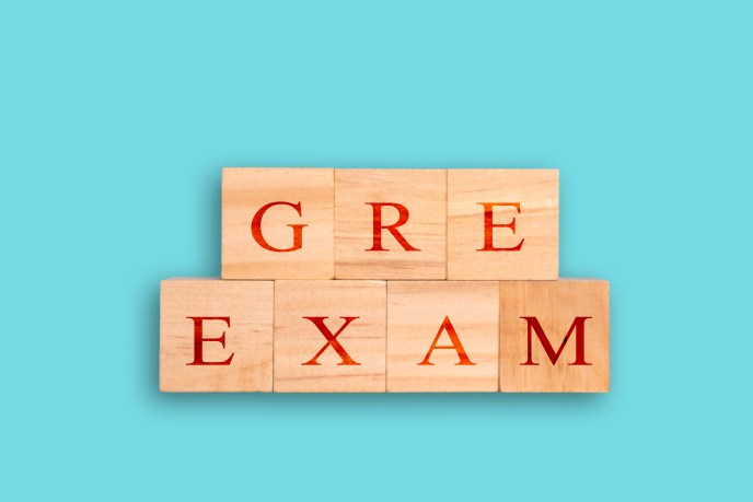 Blocks spelling out GRE EXAM