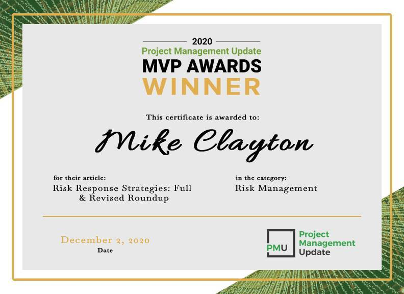2020 MVP Award Winner: Risk Response Strategies