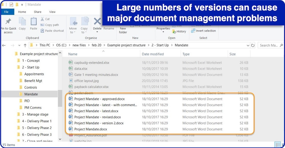 Large numbers of versions can cause major document management problems