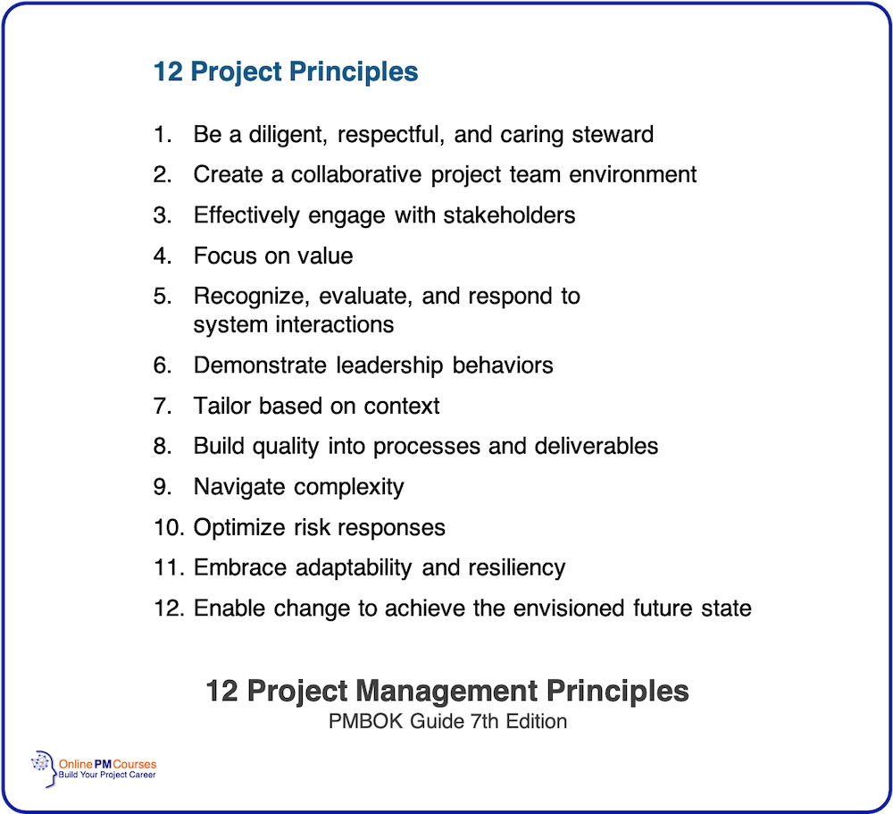 12 Project Management Principles from PMBOK 7