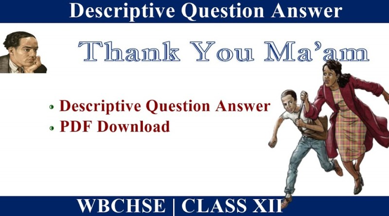 Thank You Maam Questions and Answers PDF Download
