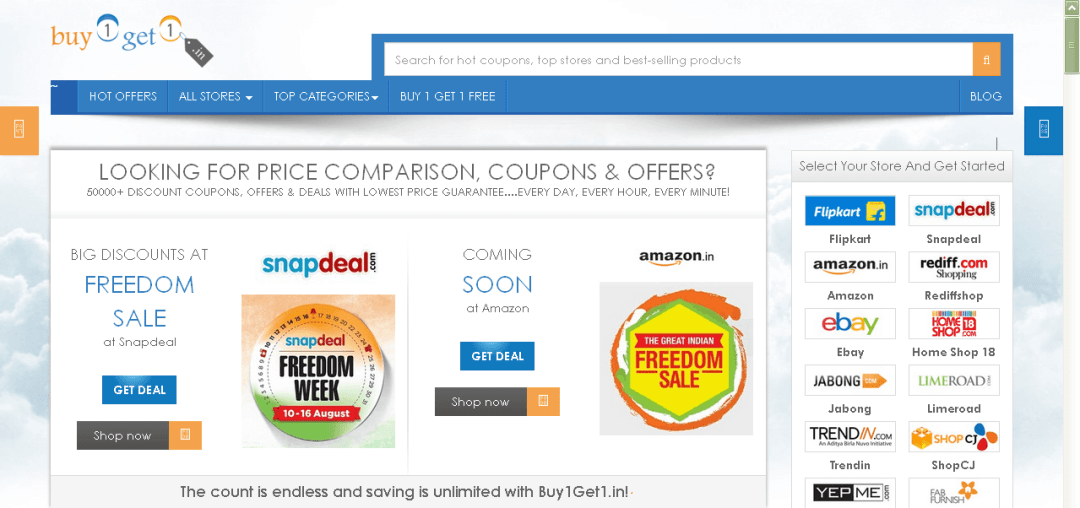 Discount coupons in India