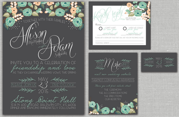 mint chalkboard wedding invitations