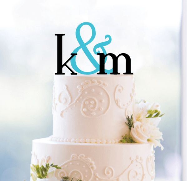 Monogram wedding cake topper with initials