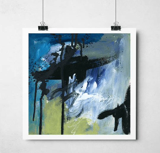 black blue abstract art print