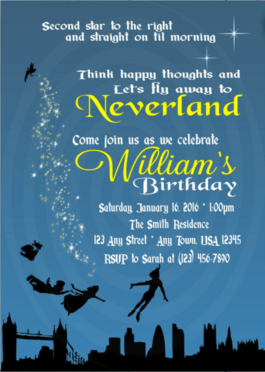 peter pan birthday party invitation