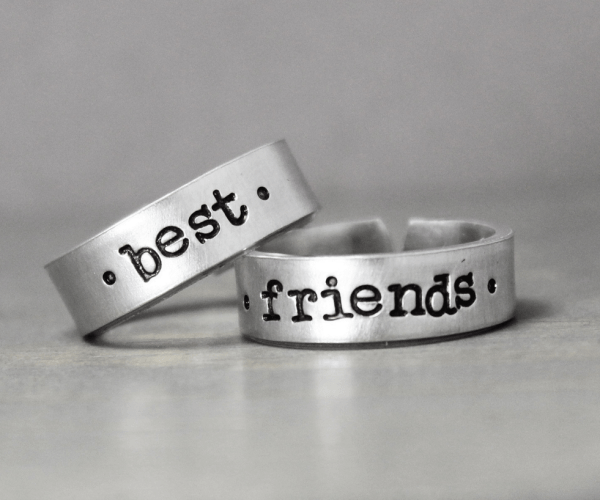 best friends promise rings engraved sterling silver