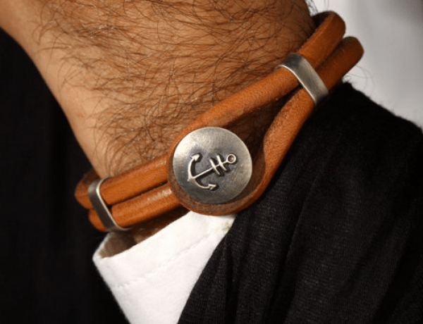 mens anchor bracelet leather mens leather bracelet with silver anchor mens nautical bracelet