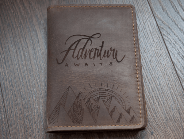 Engraved Leather Passport Holder