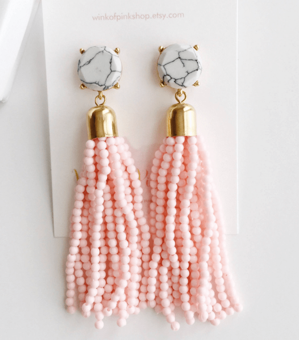 Pink Beaded Tassel Earrings on Etsy.