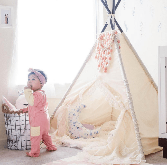 Girls Play Tent Teepee in Ivory for her room