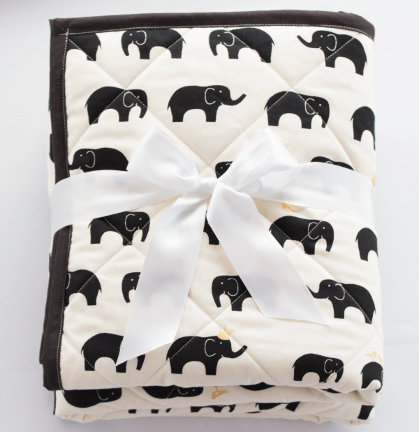 elephant baby blanket quilt black and white
