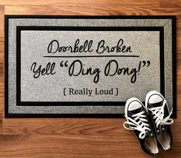 funny doormat welcome mat reads doorbell broken