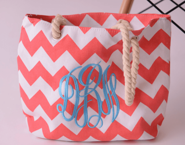 monogram beach bag