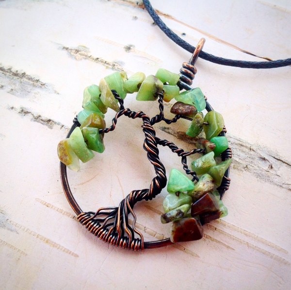 tree of life necklace in copper with green gemstones