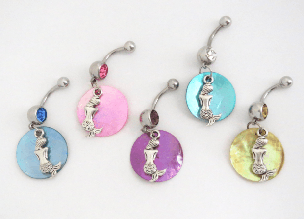 Mermaid Dangle Belly Button Rings with Mermaid Charm ...