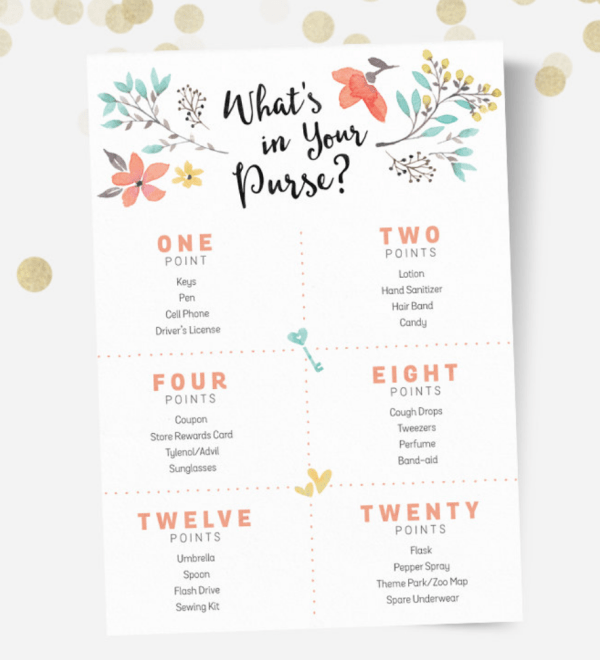 Printable Baby Shower Game What's In Your Purse