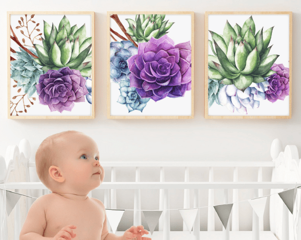 purple succulent wall art print set watercolor succulent wall art etsy