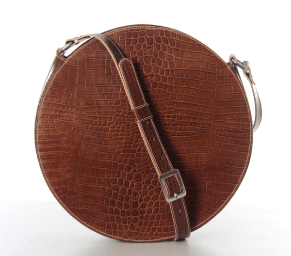 Leather Circle Crossbody Bag Brown Crocodile Leather Circle Bag Circle Purse Leather