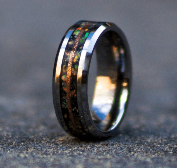 mens tungsten wedding band tungsten carbide rings tungsten wedding bands black with moonstone