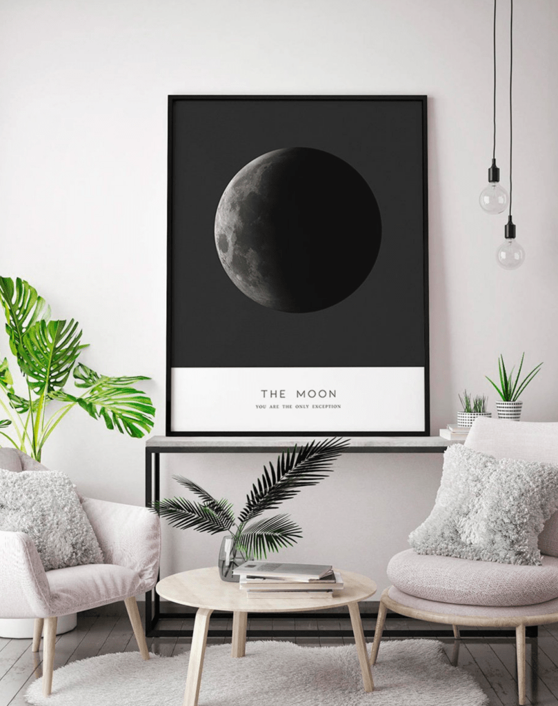 Moon Phases Wall Art Print Moon Phase Art Moon Phases Black and White Print