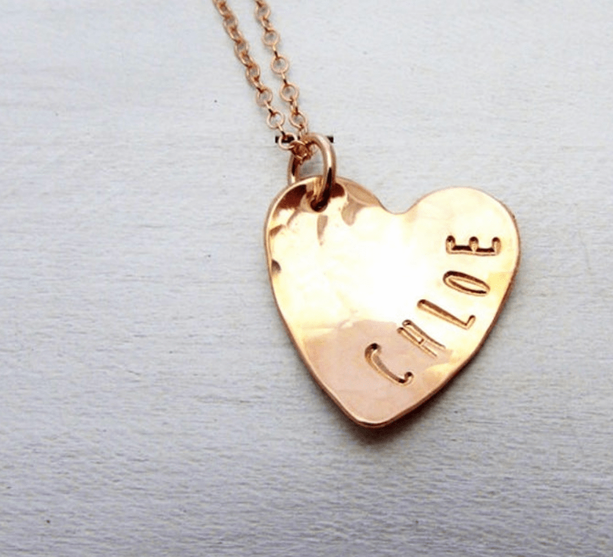 heart name necklace rose gold