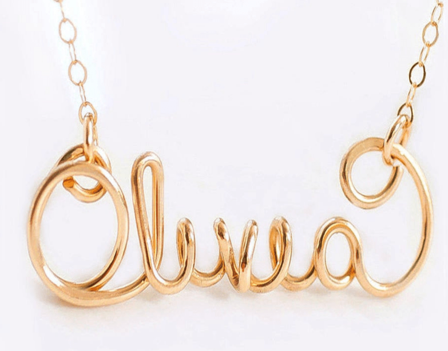 Gold Script Name Necklace on Etsy