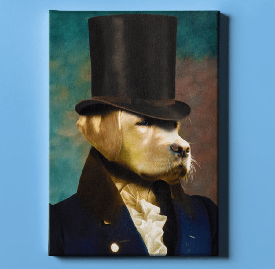 custom dog portrait renaissance style in top hat looks like a painting