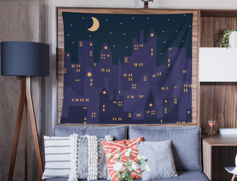 Nighttime Cityscape Wall Tapestry